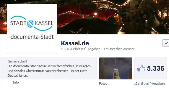 Screenshot der Facebook Seite der Stadt Kassel
