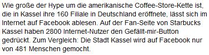HNA.de behauptet, die Stadt Kassel hätte auf Facebook unter 500 Fans.