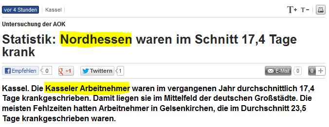 Überschrift Kassel Nordhessen Online