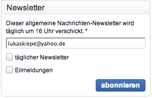 Email-Adresse in Newsletter-Formular auf hna.de