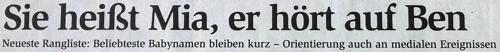 """HNA-Schlagzeile: """"Sie heißt Mia, er hört auf Ben"""""""
